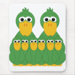 Goofy Green Ducks And 6 Babies Mouse Pad