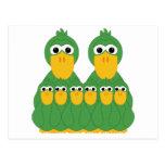 Goofy Green Ducks And 6 Babies Postcard