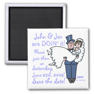Goofy Groom Carrying Bride Cartoon Save Date 2 Inch Square Magnet