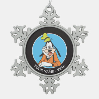 Goofy | Hand on Chin Add Your Name Snowflake Pewter Christmas Ornament