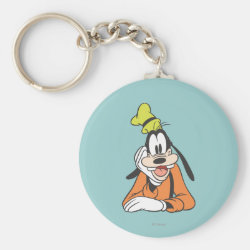 Basic Button Keychain with Classic Cartoon Goofy design