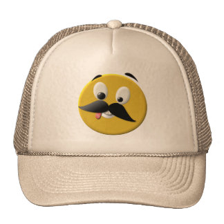 Goofy Happy Face with Mustache Mesh Hat