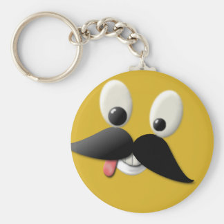 Goofy Happy Face with Mustache Keychain