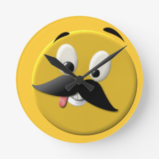 Goofy Happy Face with Mustache Round Clock