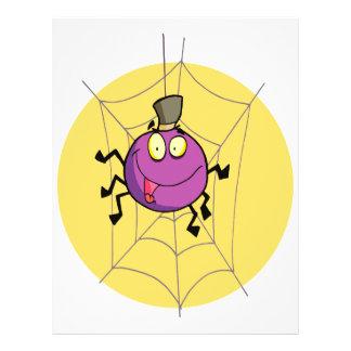 goofy happy spider in web cartoon flyers