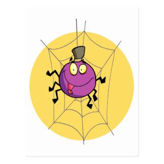goofy happy spider in web cartoon postcard