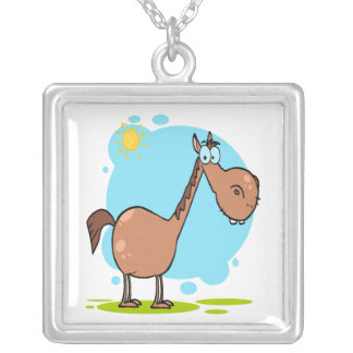 goofy horse cartoon character personalized necklace
