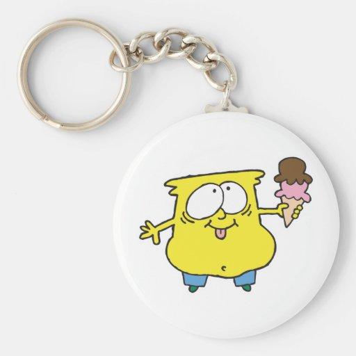 goofy ice cream monster basic round button keychain