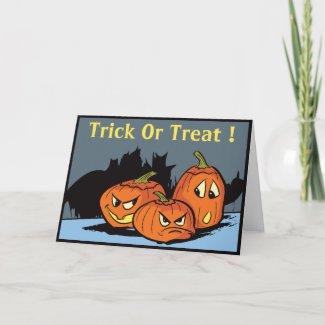 Goofy Jack-O-Lantern Trio Halloween Card card