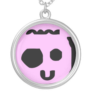 goofy kid face text emote necklace