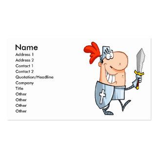 goofy knight in shining armor with sword cartoon business card