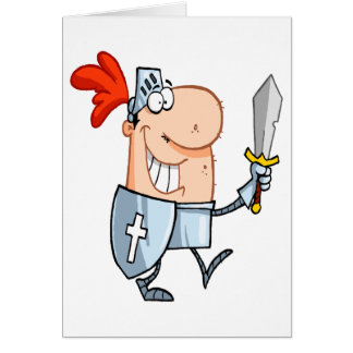 goofy knight in shining armor with sword cartoon card