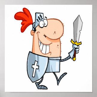 goofy knight in shining armor with sword cartoon poster