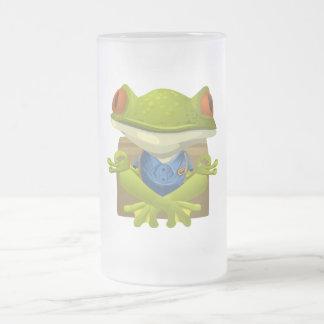 Goofy Little Meditating Green Tree Frog Frosted Glass Beer Mug