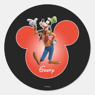 Goofy   Mickey Head Icon Classic Round Sticker