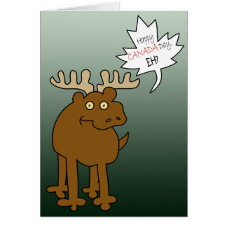 Goofy Moose Funny Canada Day Wishes Card