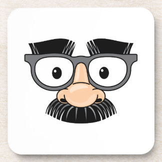 Goofy Mustache and Glasses Disguise Coaster