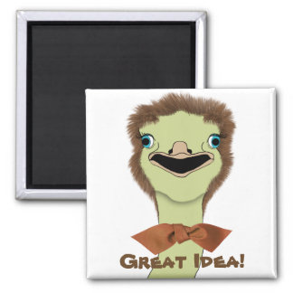 Goofy Ostrich with a Great Idea Fridge Magnets