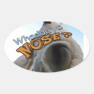 Goofy Palomino Whaddya Nose Horse Oval Sticker