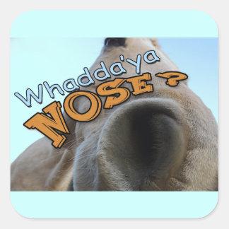 Goofy Palomino Whaddya Nose Horse Square Sticker