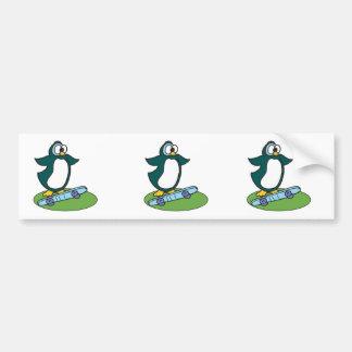 goofy penguin on skateboard car bumper sticker