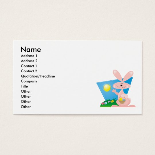 goofy pink spring easter bunny business card