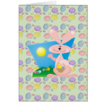 goofy pink spring easter bunny greeting card