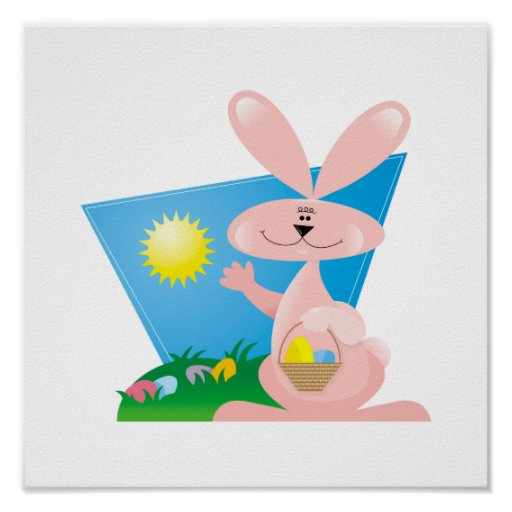 goofy pink spring easter bunny posters
