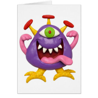 Goofy Purple Monster Greeting Cards