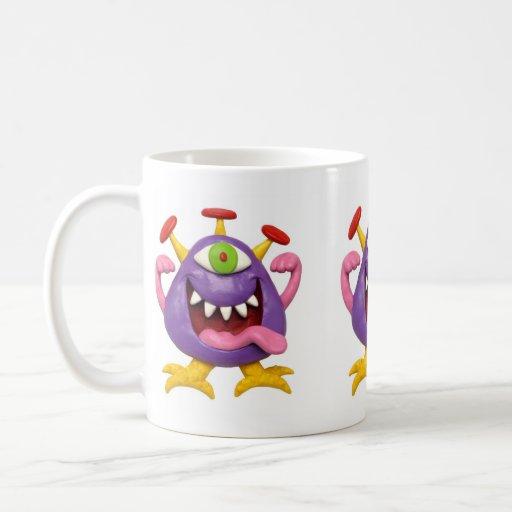 Goofy Purple Monster Classic White Coffee Mug