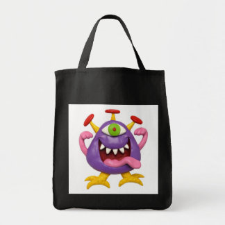 Goofy Purple Monster Grocery Tote Bag