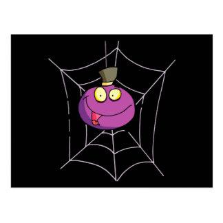 goofy silly cute spider in web cartoon postcard
