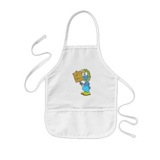 goofy silly monster saying hi aprons