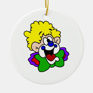 Goofy Smile Clown Double-Sided Ceramic Round Christmas Ornament