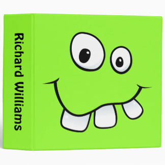 Goofy smiley face funny personalized green binder