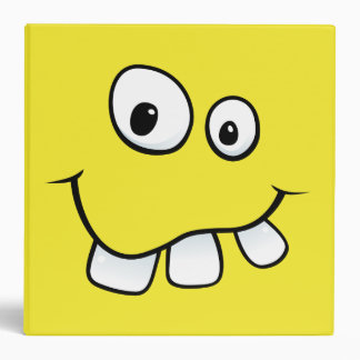 Goofy smiley face funny personalized yellow binder