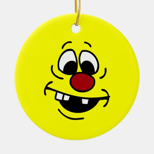 Goofy Smiley Face Grumpey Ceramic Ornament