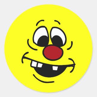 Goofy Smiley Face Grumpey Classic Round Sticker