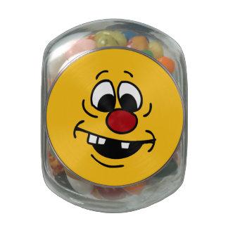 Goofy Smiley Face Grumpey Glass Jar