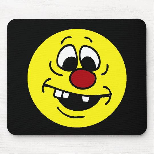 Goofy Smiley Face Grumpey Mouse Pad