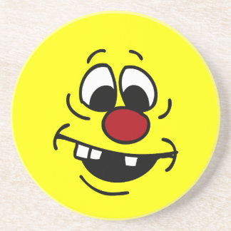 Goofy Smiley Face Grumpey Sandstone Coaster