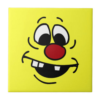 Goofy Smiley Face Grumpey Tile