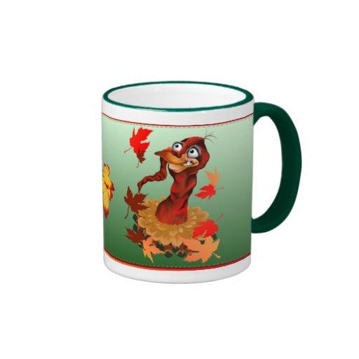 Goofy Thanksgiving turkey.  Happy Holidays._Mugs Ringer Coffee Mug