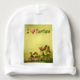 Goofy Turtles Green Tortoise Cute I Love Turtles Baby Beanie