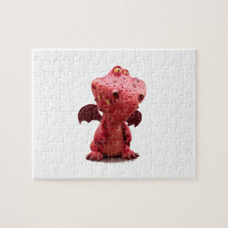 Goofy winged Red Dragon with crazy Smile Jigsaw Puzzle