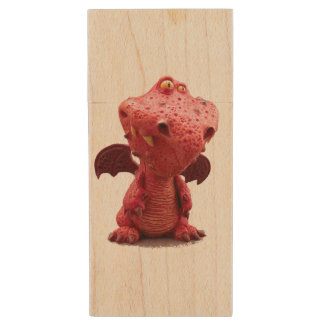Goofy winged Red Dragon with crazy Smile Wood USB 2.0 Flash Drive