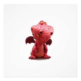 Goofy winged Red Dragon with crazy Smile Photo Print