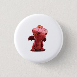 Goofy winged Red Dragon with crazy Smile Pinback Button