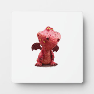 Goofy winged Red Dragon with crazy Smile Plaque