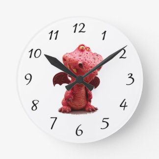 Goofy winged Red Dragon with crazy Smile Round Clock